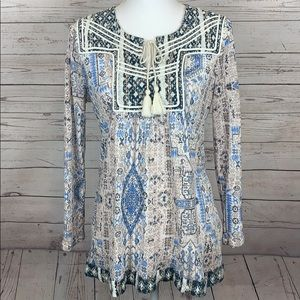 Lucky Brand Boho Embroidered Tassel Tunic Top